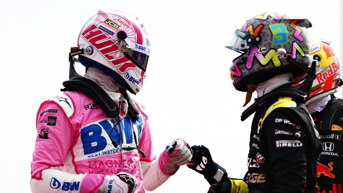 Nico Hülkenberg (l.) mit Daniel Ricciardo in Silverstone 2020