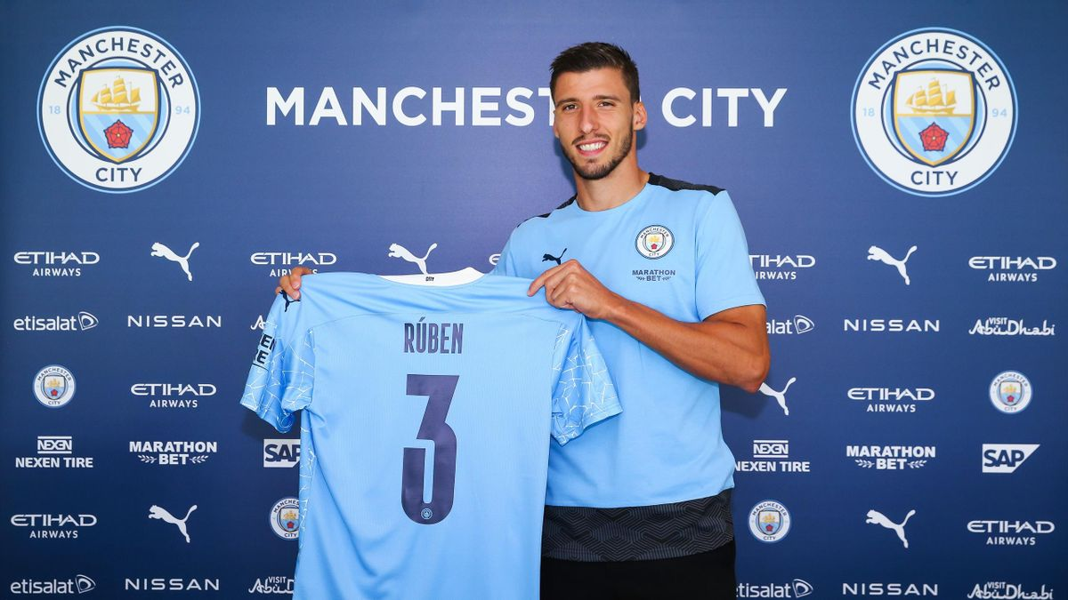 Manchester City unveil new signing Rúben Dias at the Etihad Stadium on September 29, 2020 in Manchester, England