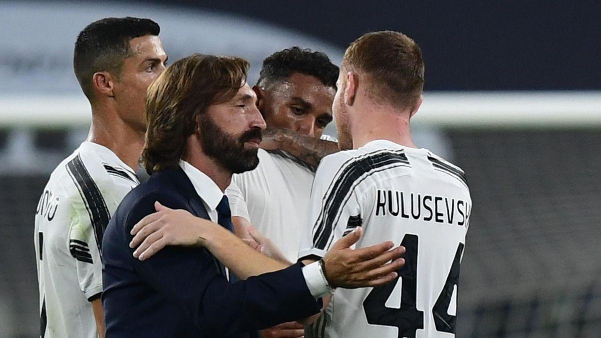 Juventus-Sampdoria, Serie A 2020-2021: Andrea Pirlo e Dejan Kulusevski (Getty Images)