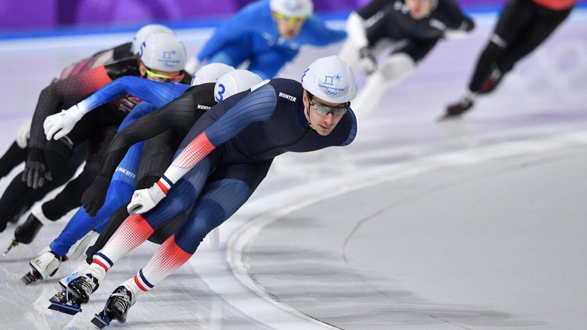 Alexis Contin lors de l'épreuve de mass start des Jeux de Pyeongchang