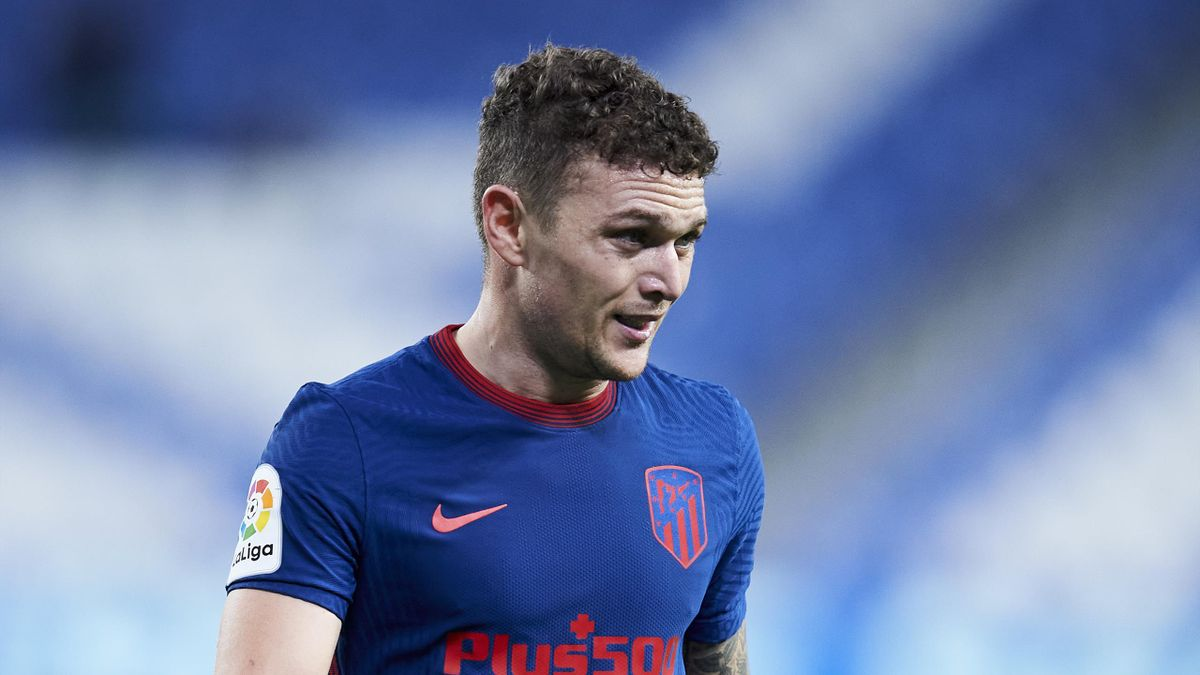 Kieran Trippier of Club Atletico de Madrid reacts during the La Liga Santander match between Real Sociedad and Atletico de Madrid at Estadio Anoeta