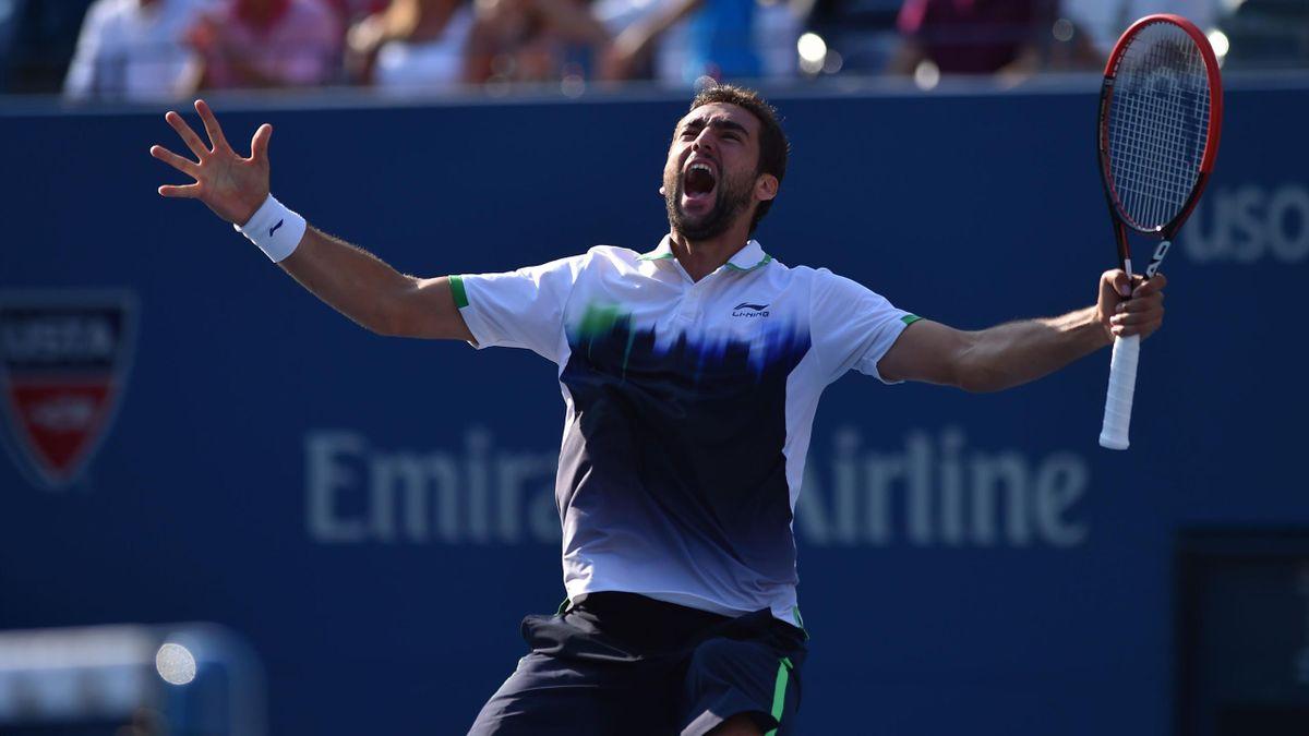 Marin Cilic exulte après sa qualification pour les demi-finales de l'US Open