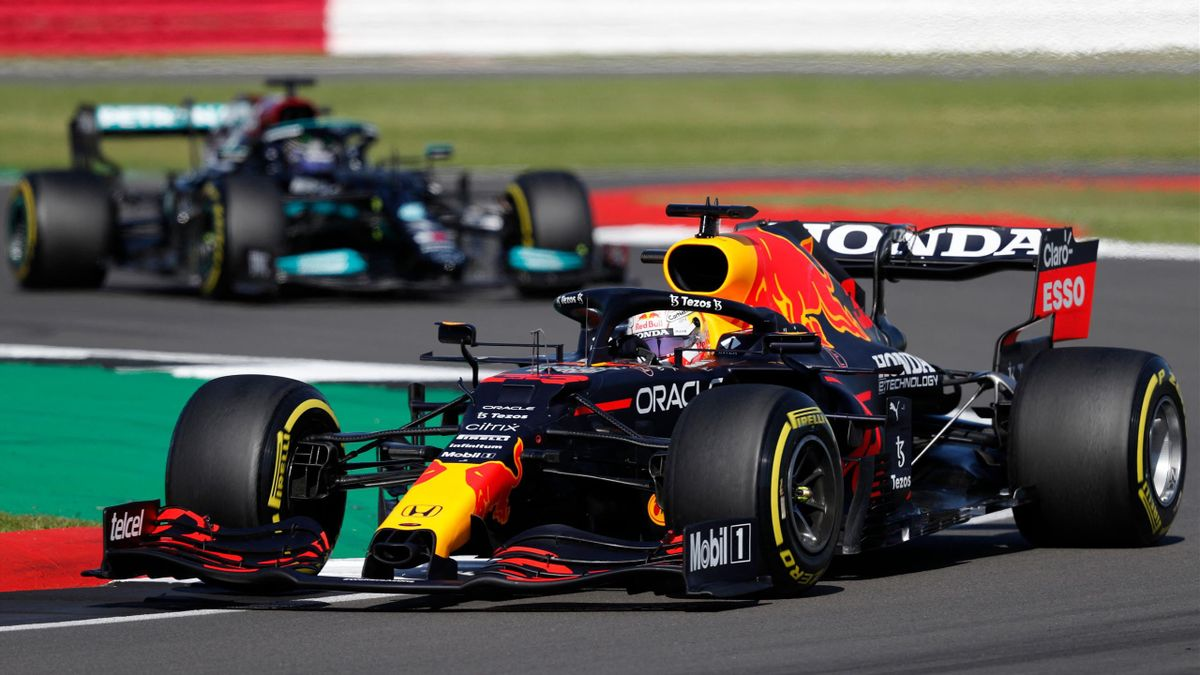Red Bull's Dutch driver Max Verstappen drives at Club Corner during the sprint session of the Formula One British Grand Prix at Silverstone motor racing circuit in Silverstone, central England on July 17, 2021