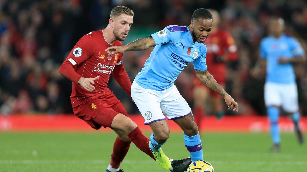 Jordan Henderson (l.) und Raheem Sterling im Premier-League-Duell zwischen dem FC Liverpool und Manchester City im November 2019