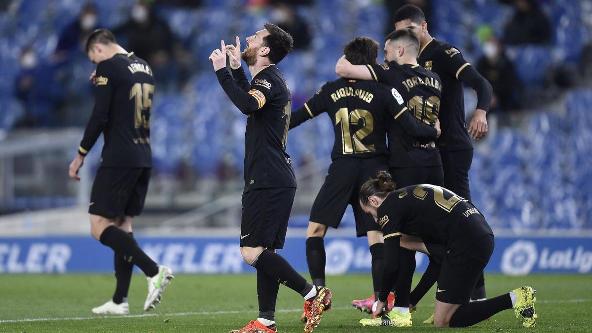 Jugadores del Barcelona celebrando