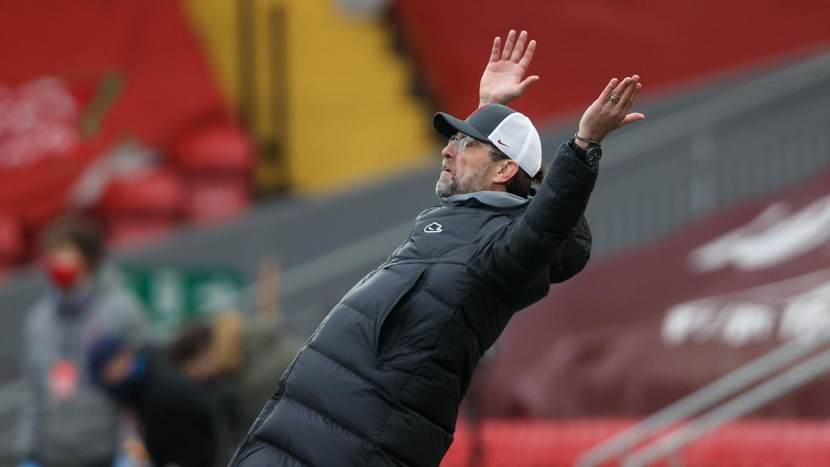 Jurgen Klopp, Manager of Liverpool reacts during the Premier League match between Liverpool and Fulham at Anfield