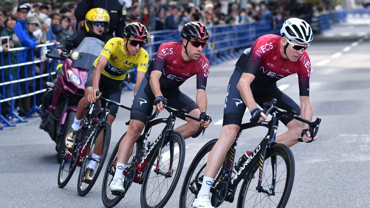 Chris Froome of Britain (R), Jonathan Castroviejo of Spain (2nd R) and Egan Bernal of Colombia (3rd R), all of Team Ineos
