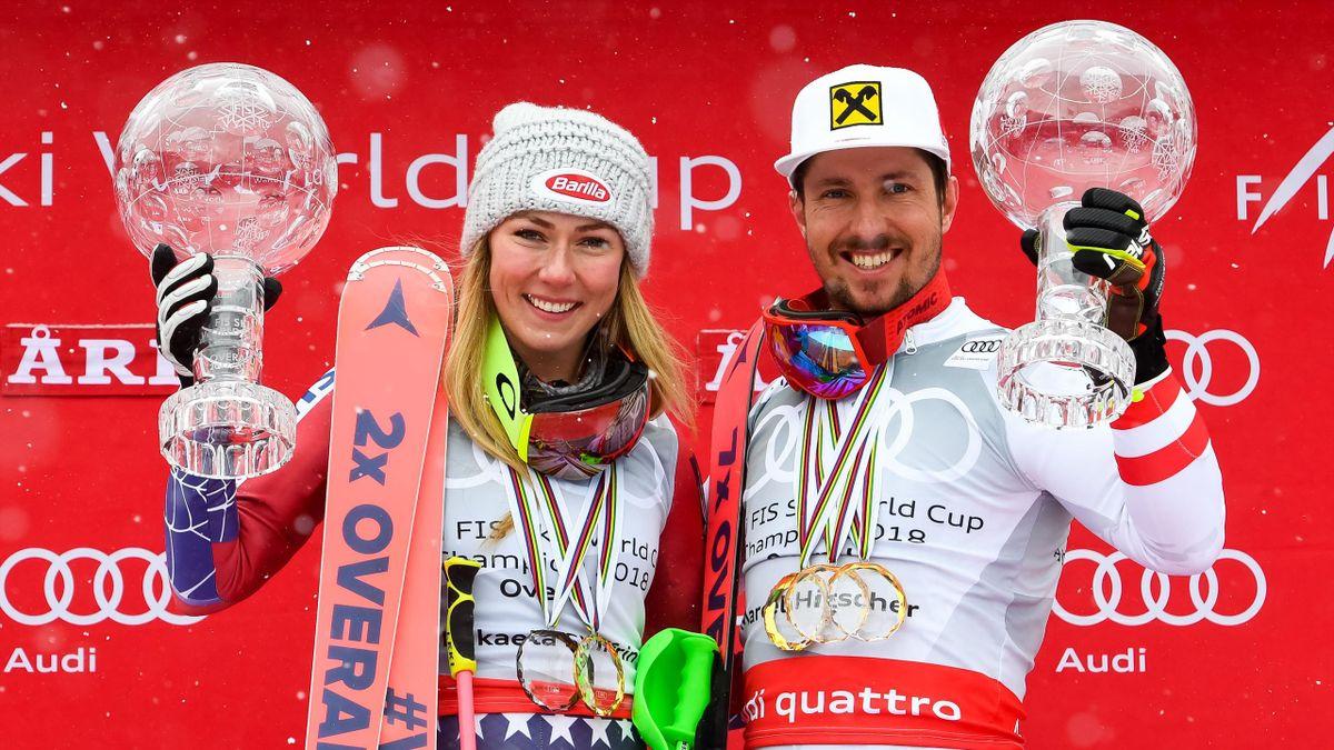 Marcel Hirscher en Mikaela Shiffrin winnen de Chrystal Globe