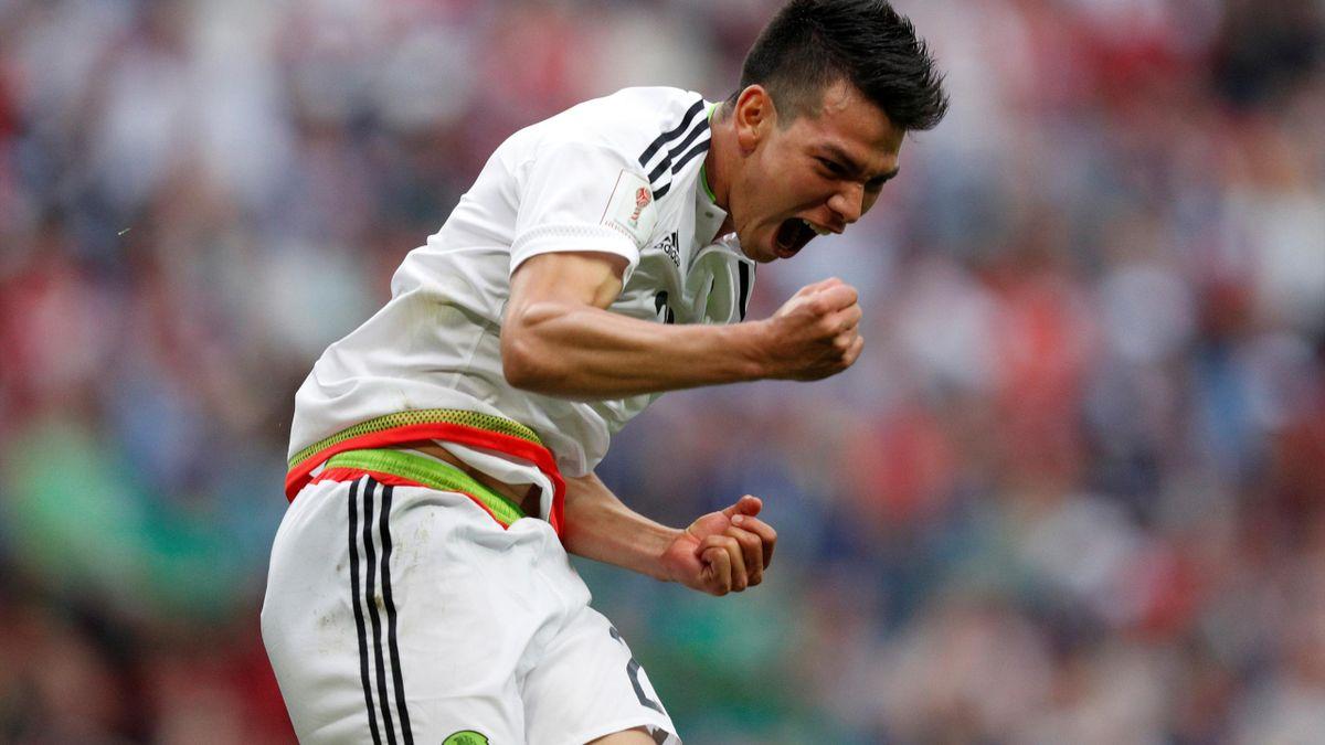 Mexico's Hirving Lozano celebrates scoring their second goal