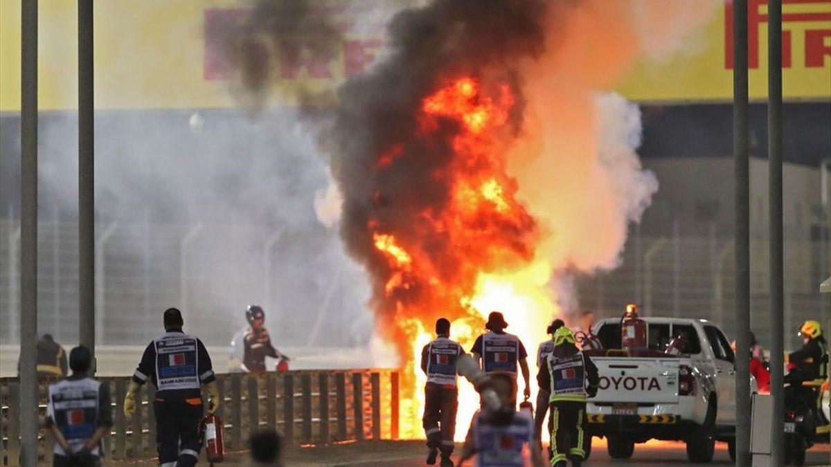 L'accident de Romain Grosjean (Haas) au Grand Prix de Bahreïn 2020