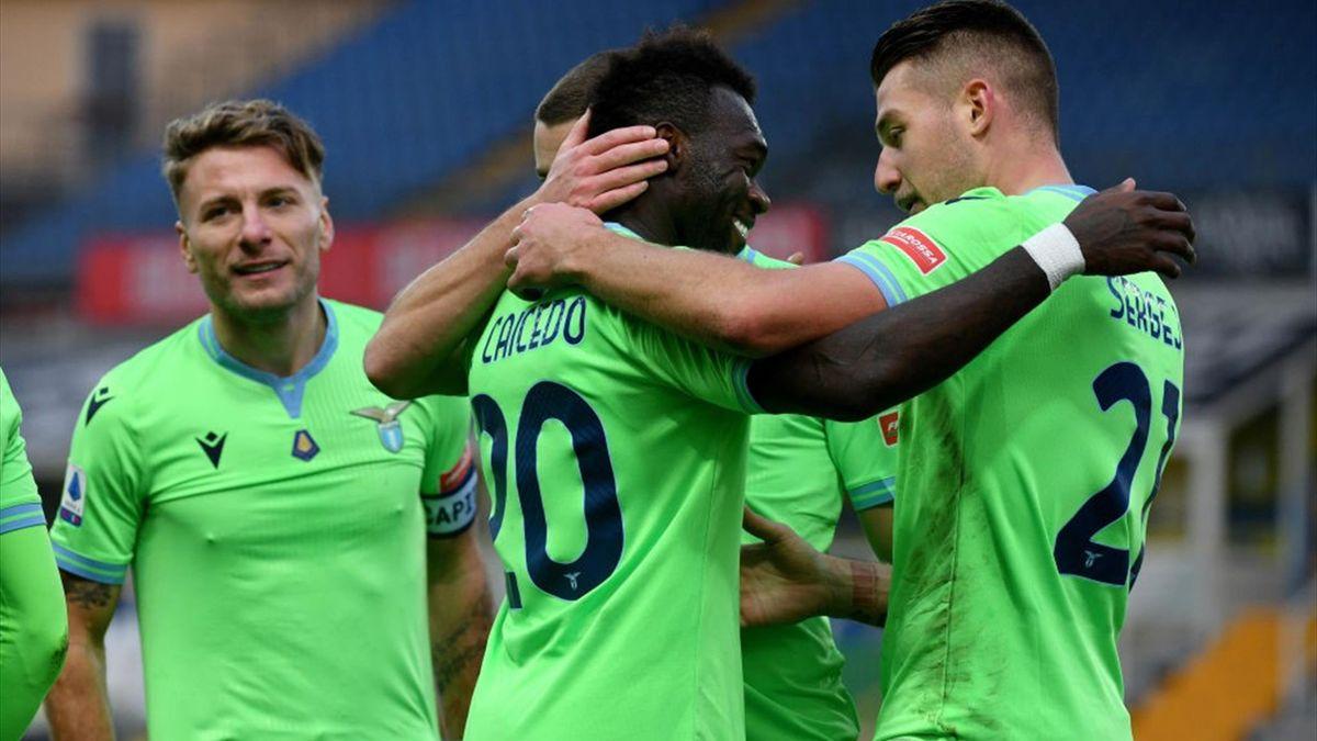 Felipe Caicedo esulta insieme a Milinkovic Savic, Parma-Lazio, Getty Images