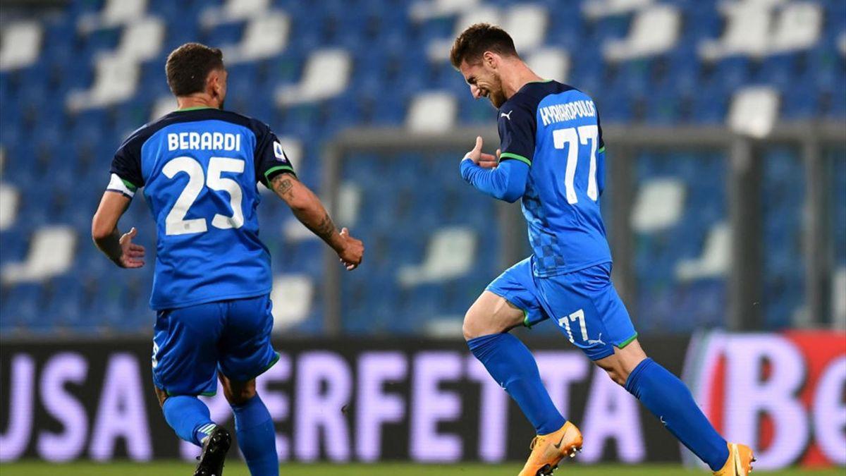 Georgios Kyriakopoulos esulta - Sassuolo-Lazio Serie A 2020-21