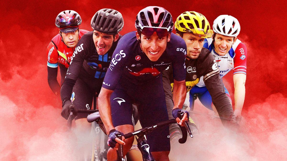 Mikel Landa (Bahrain-Victorious), Romain Bardet (DSM), Egan Bernal (INEOS-Grenadiers), Primoz Roglic (Jumbo-Visma), Arnaud Démare (Groupama-FDJ) / La Vuelta 2021