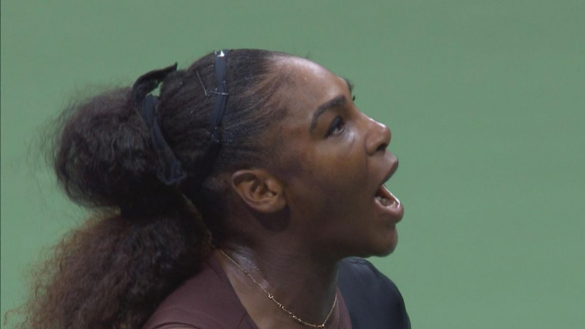 US Open 6 - Williams screaming on the referee