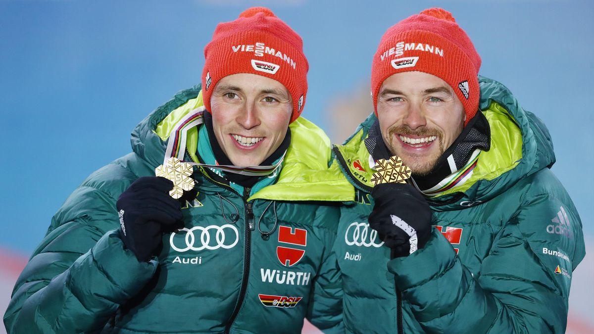 Eric Frenzel (l.) und Fabian Rießle gewannen bei der WM 2019 in Seelfeld Gold im Teamsprint