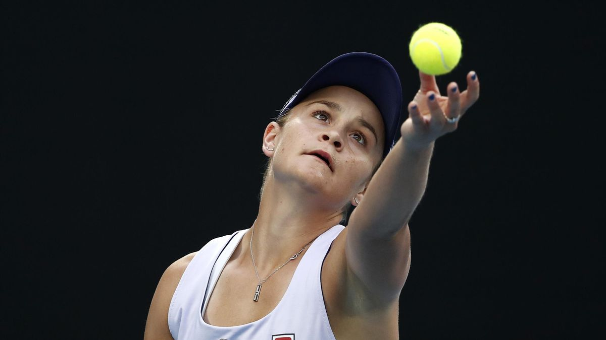 Ashleigh Barty of Australia serves in her Women's Singles fourth round match against Shelby Rogers of the United States during day eight of the 2021 Australian Open at Melbourne Park