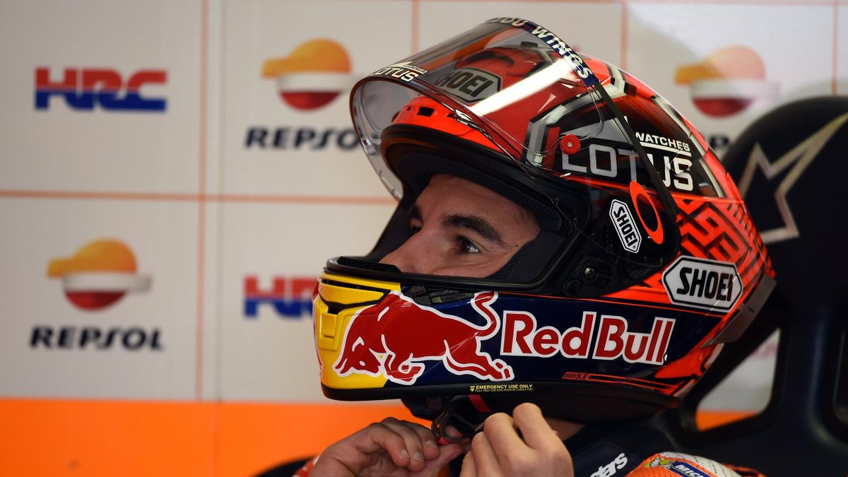 Repsol Honda Team's Spanish rider Marc Marquez gets ready for a qualifying session of the MotoGP class at the Australian Grand Prix at Phillip Island on October 22