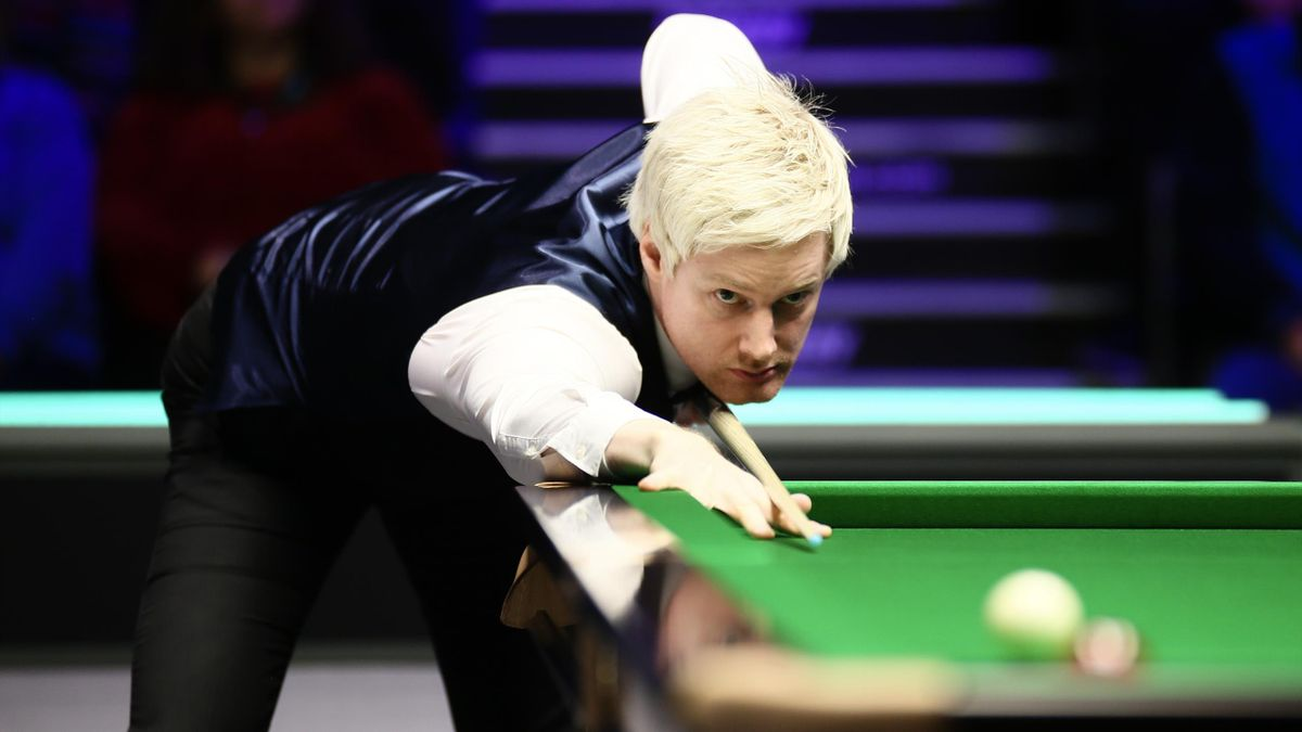 Neil Robertson of Australia plays a shot during the 4th round match against Yan Bingtao of China on day nine of 2019 Betway UK Championship at Barbican Centre on December 4, 2018 in York, England