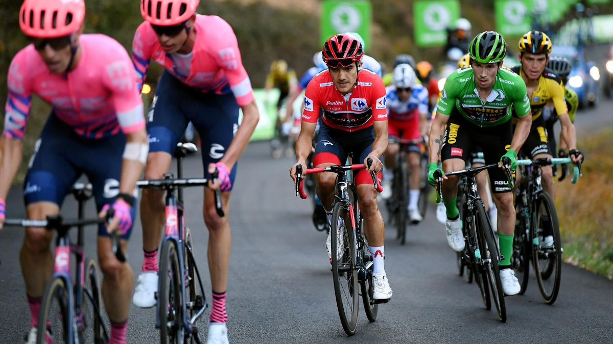 Richard Carapaz and Primoz Roglic chase down Michael Woods and Hugh Carthy in stage 8 of La Vuelta 2020