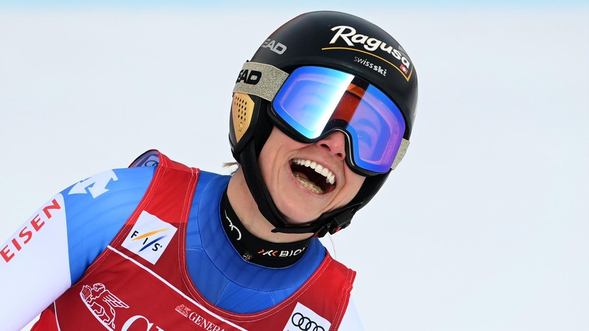 Switzeland's Lara Gut-Behrami reacts in the finish area after her run during the women's Super G event of the FIS Alpine Ski World Cup in Garmisch-Partenkirchen