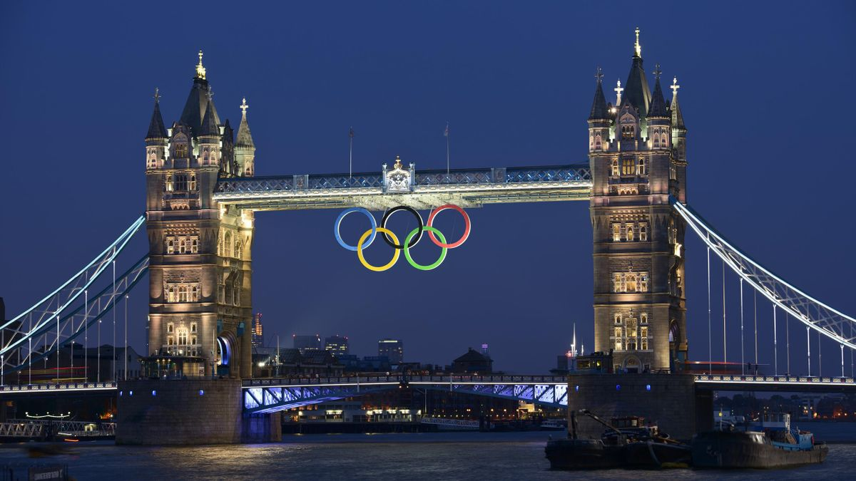 The Olympic Rings are seen under Tower Bridge London, during the London 2012 Olympic Games