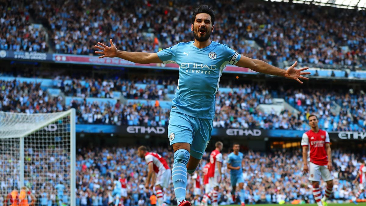 MANCHESTER, ENGLAND - AUGUST 28: Ilkay Gundogan of Manchester City celebrates after scoring the opening goal during the Premier League match between Manchester City and Arsenal at Etihad Stadium on August 28, 2021 in Manchester, England.