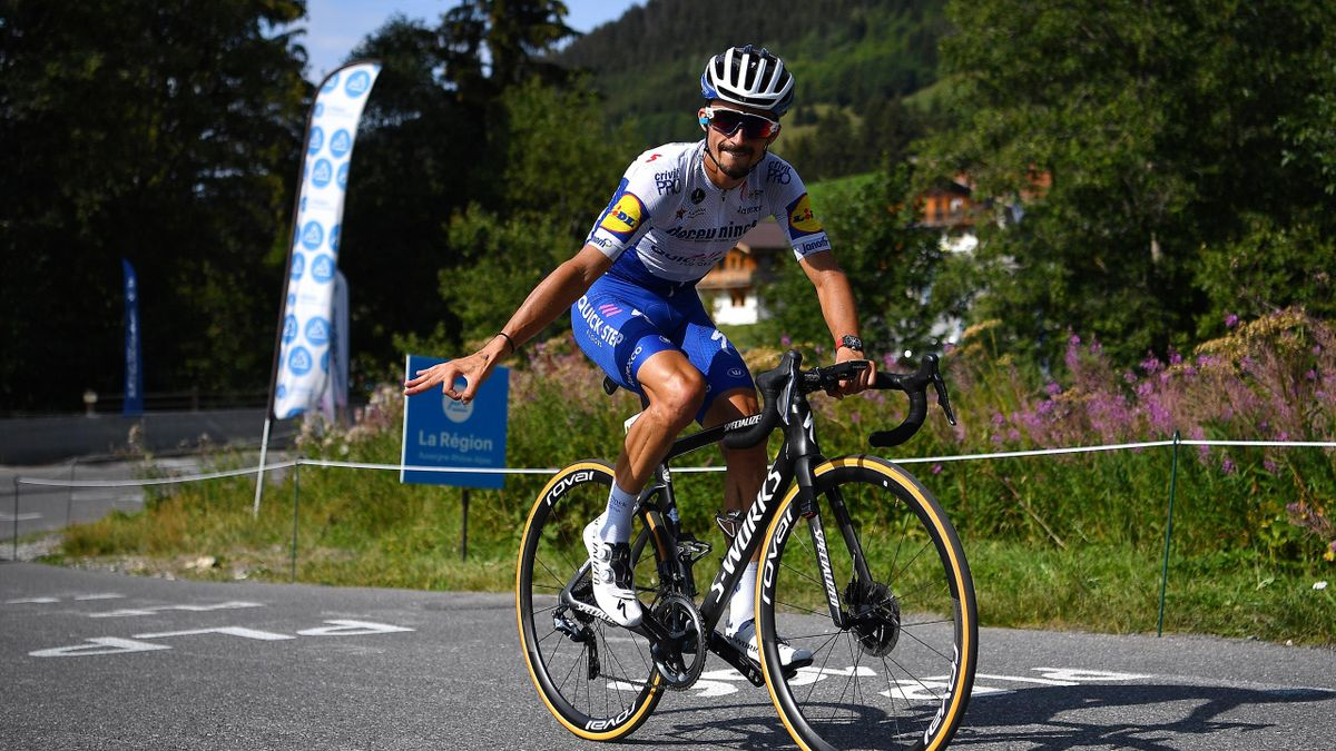 Julian Alaphilippe of France and Team Deceuninck - Quick-Step / during the 72nd Criterium du Dauphine 2020, Stage 5 a 153,5km stage from Megeve to Megeve 1458m / @dauphine / #Dauphiné / on August 16, 2020 in Megeve, France.