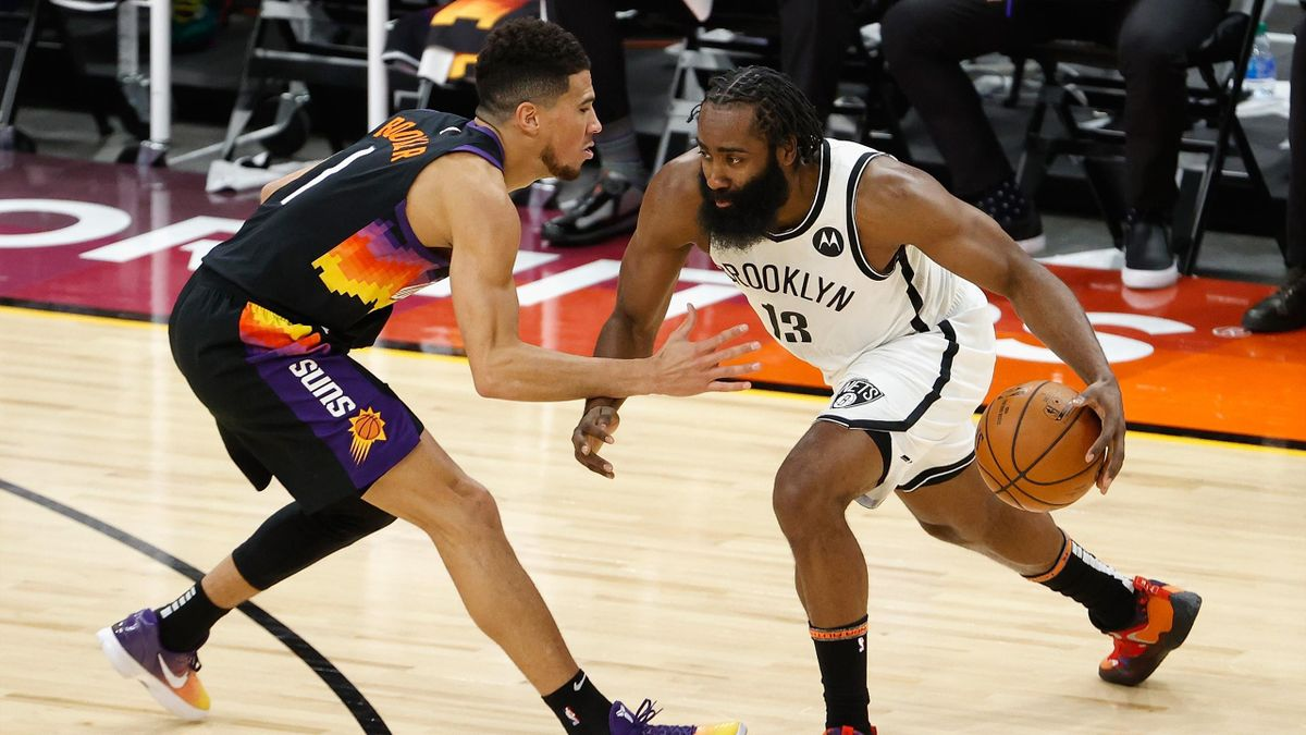 Devin Booker e James Harden, Suns-Nets, NBA 2020-21
