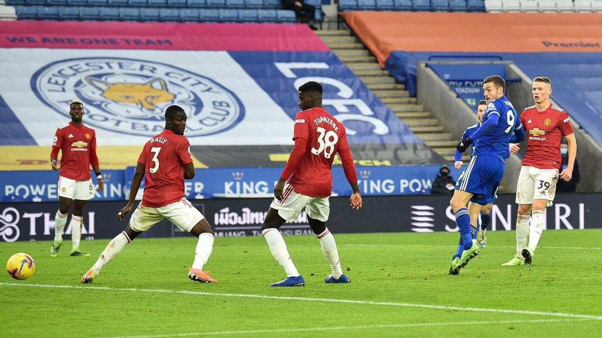 Jamie Vardy (Leicester City) trifft gegen Manchester United