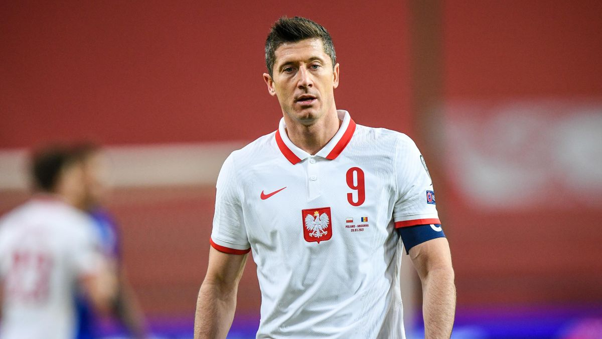 Robert Lewandowski scored twice against Andorra but was later forced off with a knee injury