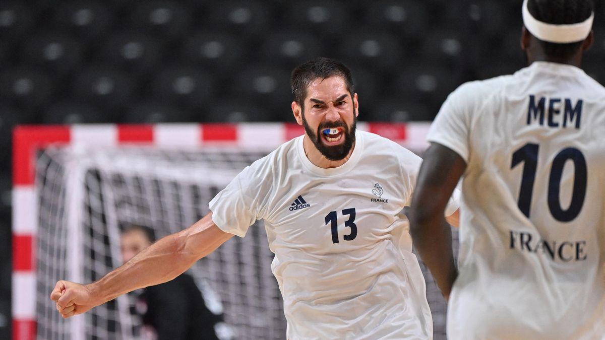 Nikola Karabatic célèbre un but, inscrit avec la France face à l'Egypte, en demi-finale des JO de Tokyo 2020 - 05/08/2021