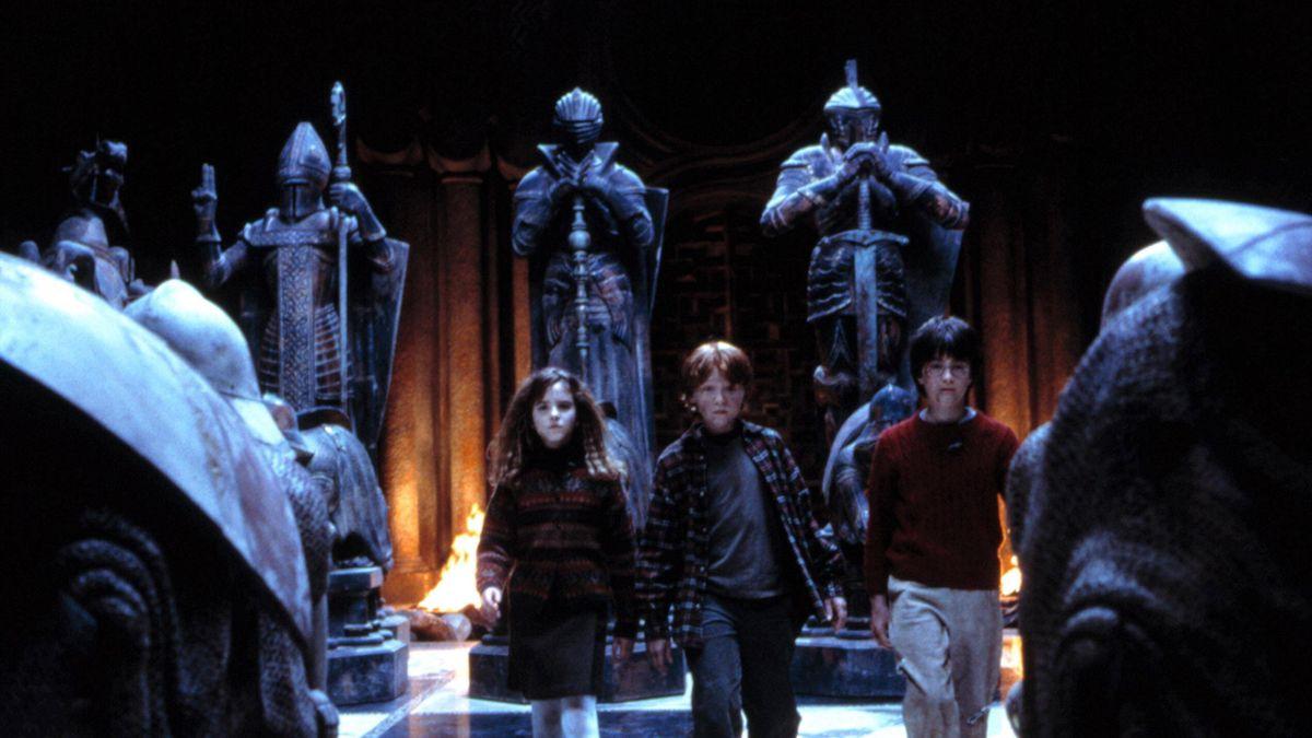 Гарри, Рон и Гермиона. Кадр из фильма «Гарри Поттер и философский камень»