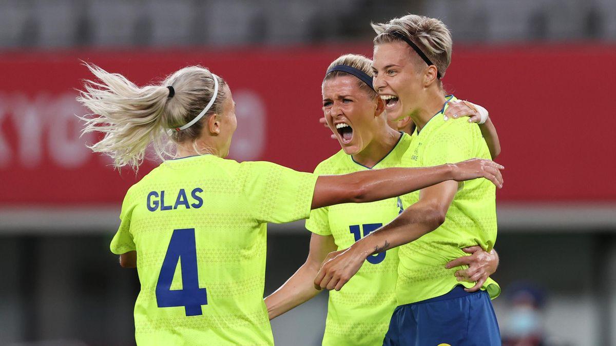 Lina Hurtig of Sweden celebrates