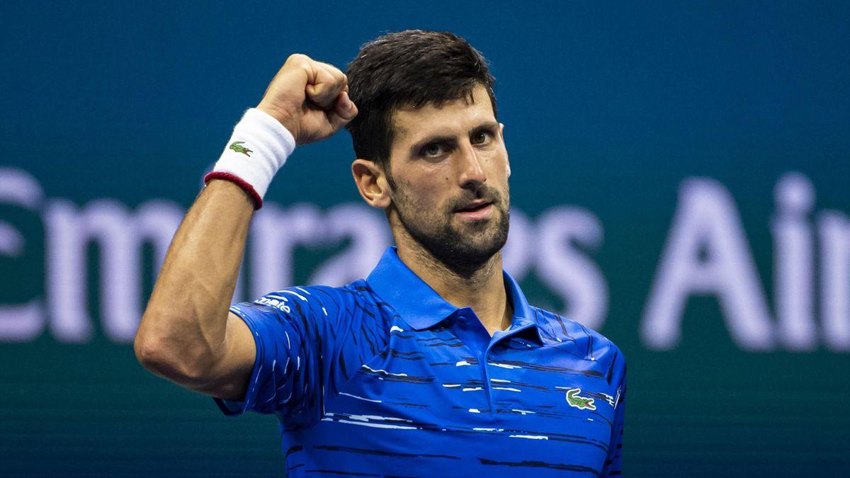 Novak Djokovic of Serbia celebrates on Arthur Ashe Stadium