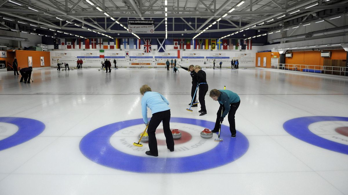 Scottish curlers at a rink in Glasgow