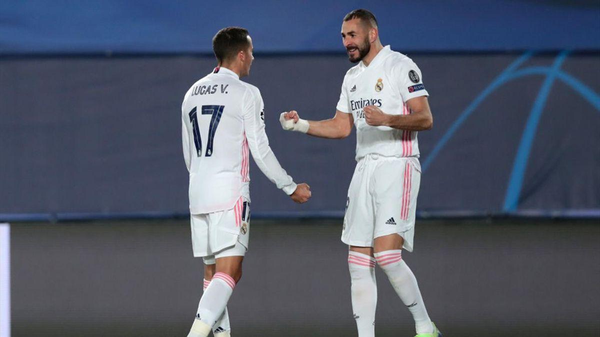 Karim Benzema (re.) von Real Madrid traf gegen Borussia Mönchengladbach