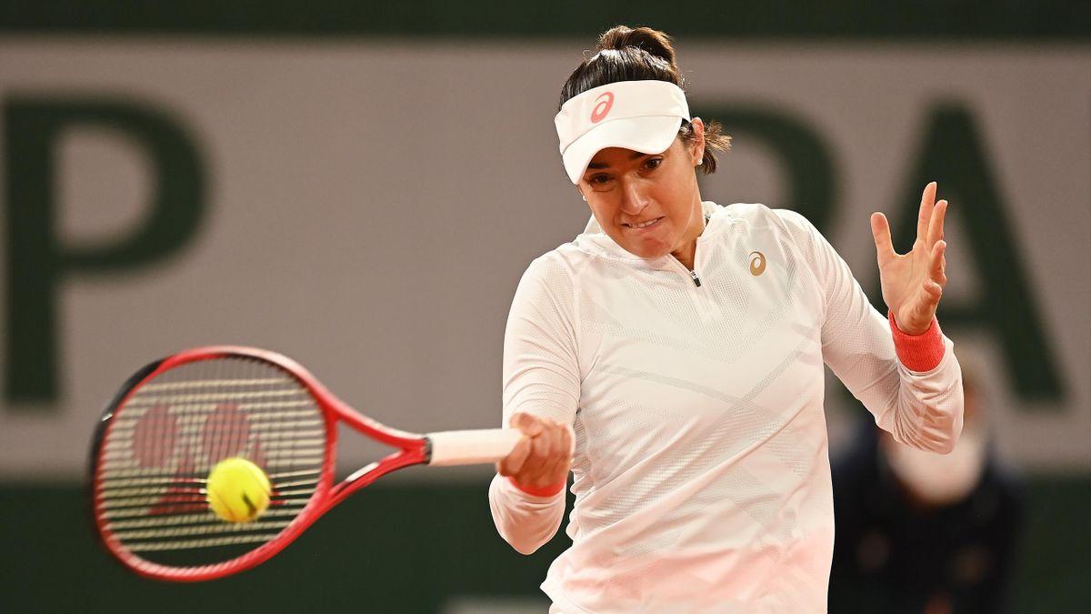 Caroline Garcia lors de Roland-Garros 2020, face à Anett Kontaveit au 1er tour