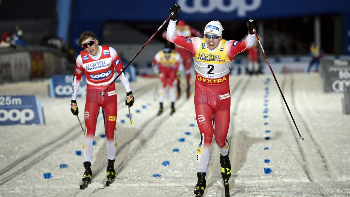 Erik Valnes celebrates ahead of Johannes Hoesflot Klaebo, Men's Sprint Classic, FIS World Cup Ruka Nordic, Kuusamo, Finland, November 27, 2020