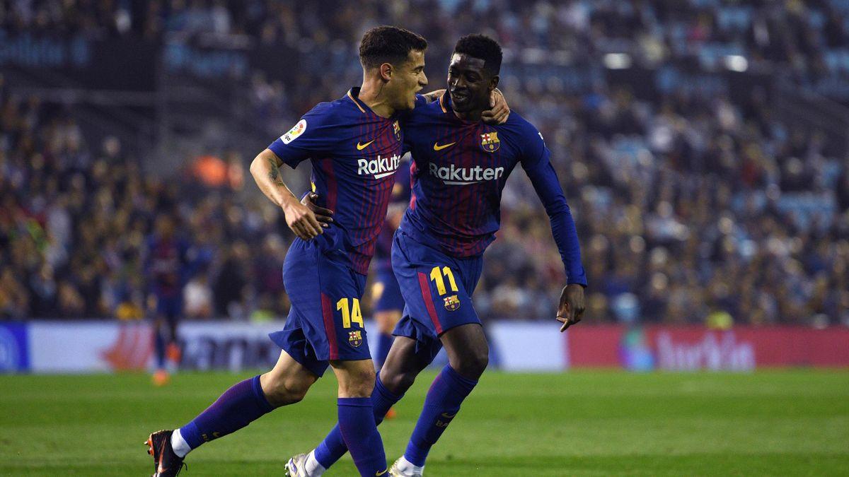 Ousmane Dembélé mit Philippe Coutinho (FC Barcelona)