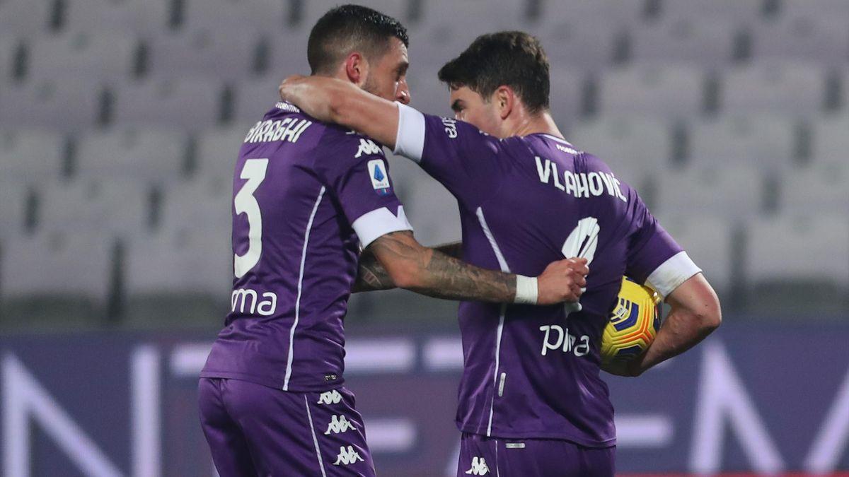 Dusan Vlahovic, Cristiano Biraghi, Fiorentina-Sassuolo, Serie A 2020-21, Getty Images
