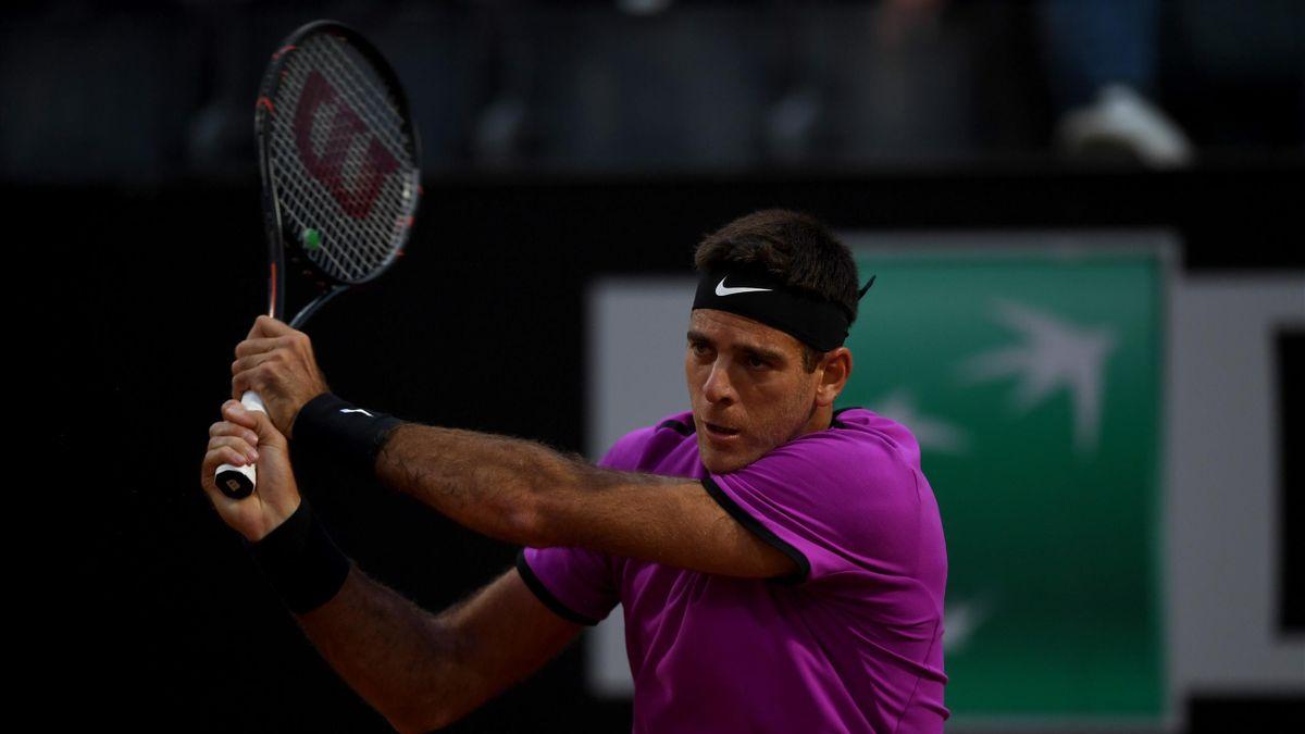 Juan Martin del Potro lors de son succès lors du 1er tour du Masters 1000 de Rome face à Grigor Dimitrov