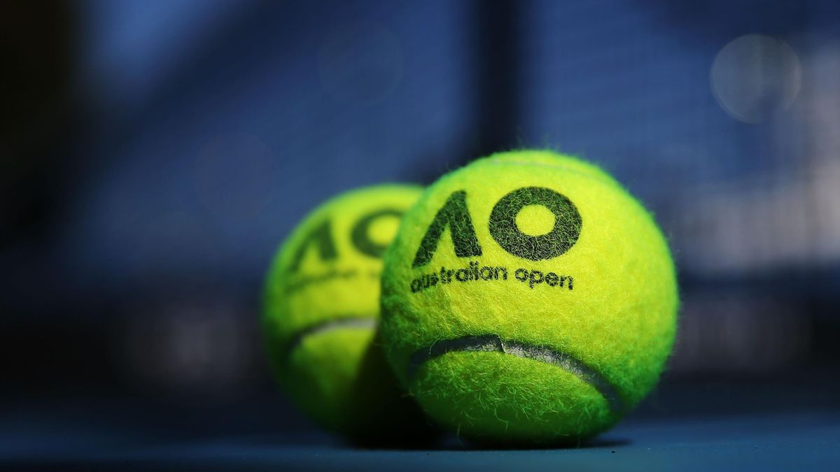 Australian Open tennisn balls are seen during a practice session ahead of the 2018 Australian Open at Melbourne Park