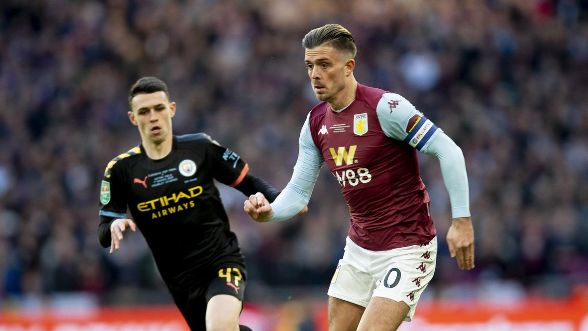 Jack Grealish of Aston Villa in action during the Carabao Cup Final between Aston Villa and Manchester City at Wembley Stadium on March 01, 2020 in London, England.