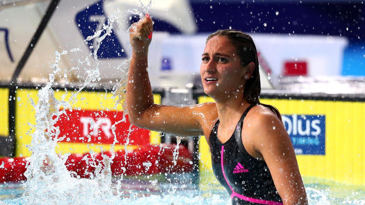 Simona Quadarella campionessa dei 400, 800 e 1500 stile libero agli Europei di Glasgow 2018.