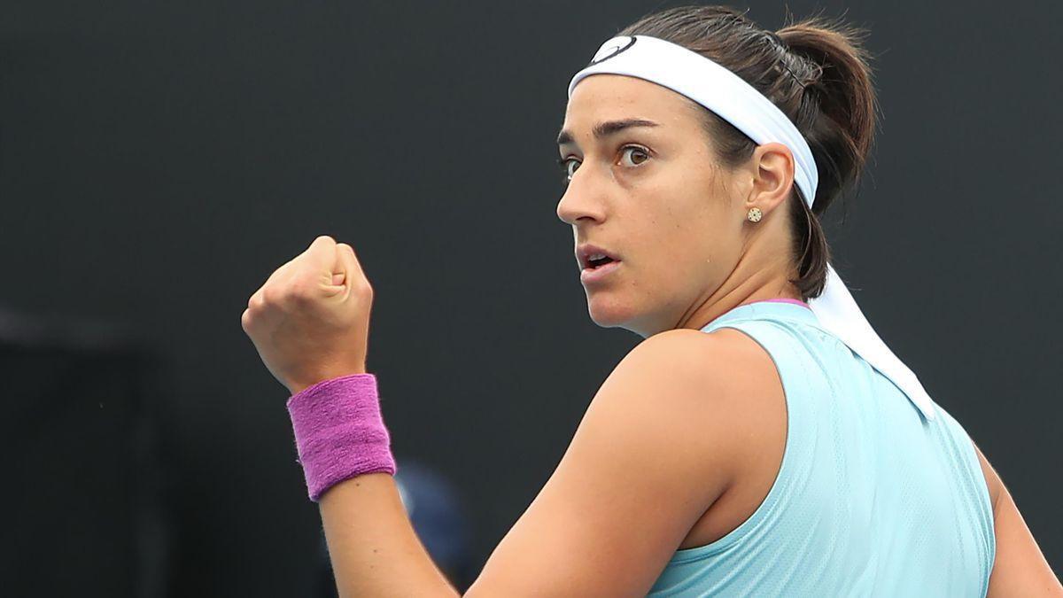 Caroline Garcia lors de son premier tour à l'Open d'Australie 2021