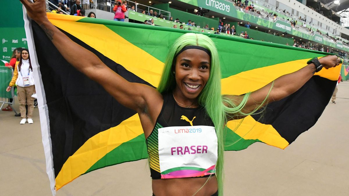 Jamaica's Shelly-Ann Fraser-Pryce celebrates after winning the Athletics Women's 200m Final during the Lima 2019 Pan-American Games in Lima