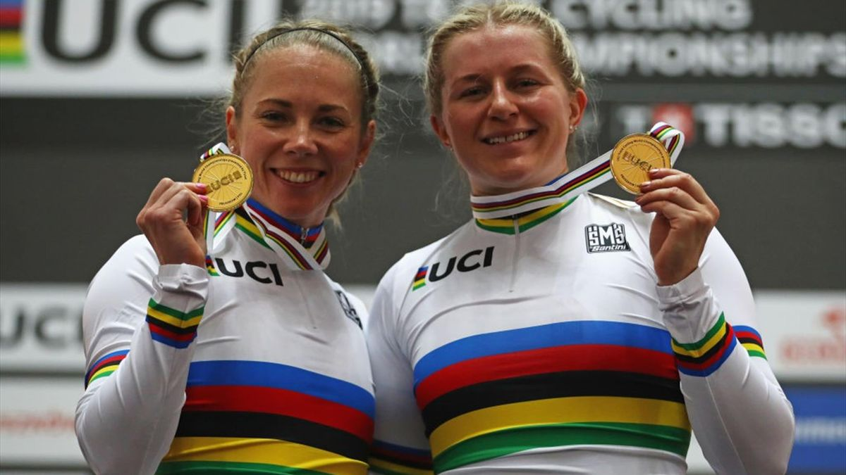 Kaarle McCulloch (L) and Stephanie Morton (R) of Australia celebrate winning the gold medal in the Women's team sprint on day one of the UCI Track Cycling World Championships held in the BGZ BNP Paribas Velodrome Arena on February 27, 2019
