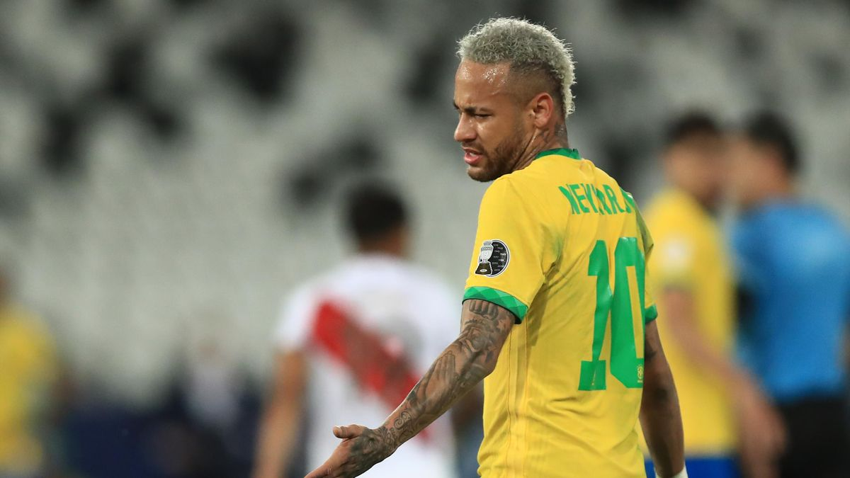 Neymar Jr. of Brazil reacts during a semi-final match of Copa America Brazil 2021 between Brazil and Peru