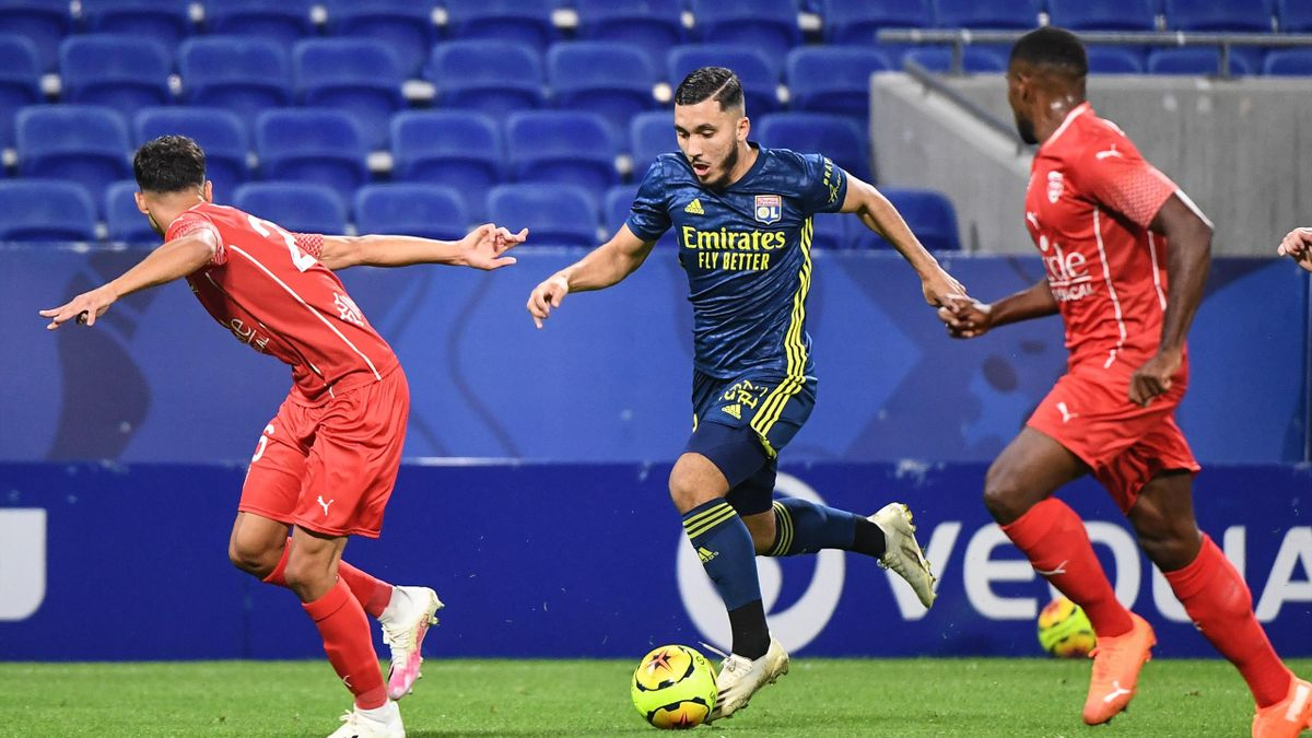 Rayan CHERKI of Lyon during the Ligue 1 match between Olympique Lyon and Nimes Olympique at Groupama Stadium on September 20, 2020 in Lyon, France.