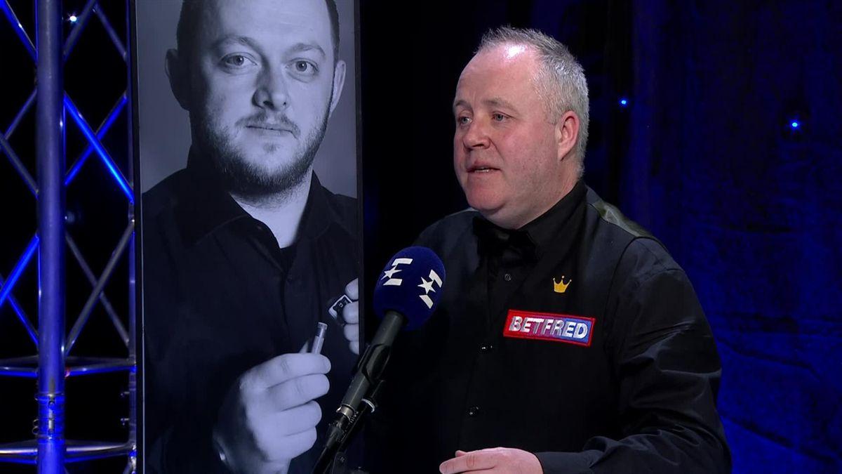 Snooker The Masters:  Interview of John Higgins in studio after his win over Mark Allen